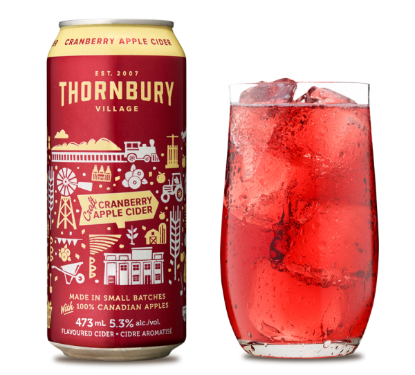 Cranberry Apple Cider Can and Glass